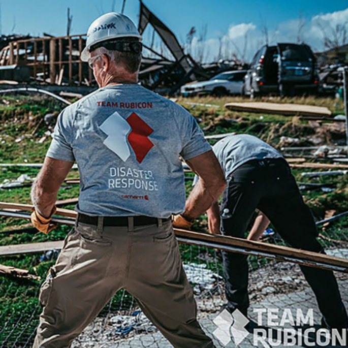 An image of Team Rubicon helping with disaster response